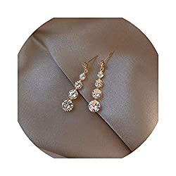 Women's Gold Long Cz Tassel Drop Earrings