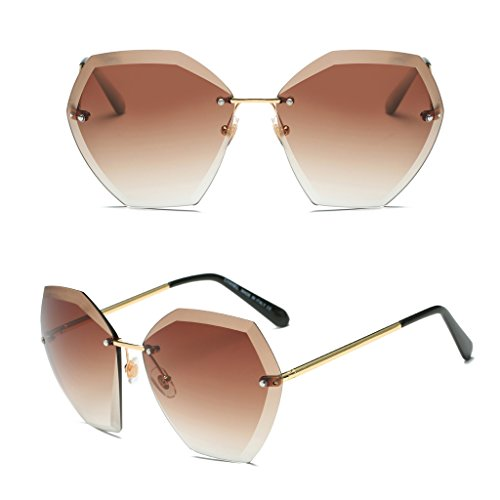 Fang sky Women Rimless Crystal Cut Lenses Sunglasses Designer Gradient Eyewear Shades New - Sunglasses Valentino Versace