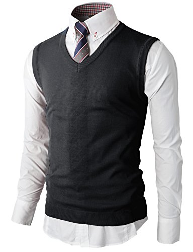 (H2H Men's Lambswool V Neck Sweater Vest Charcoal US L/Asia XL (KMOV050))