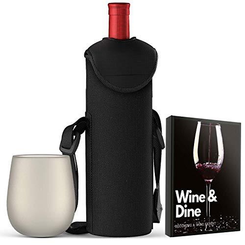 - Portable Wine Insulated Tote Bag | INCLUDES One Silicone Wine Cup & Wine Tasting E-book | Premium Neoprene Fabric | Capable of Holding a 750 ml Wine Bottle | Ideal for Travel, Picnic, Beach, and Gift