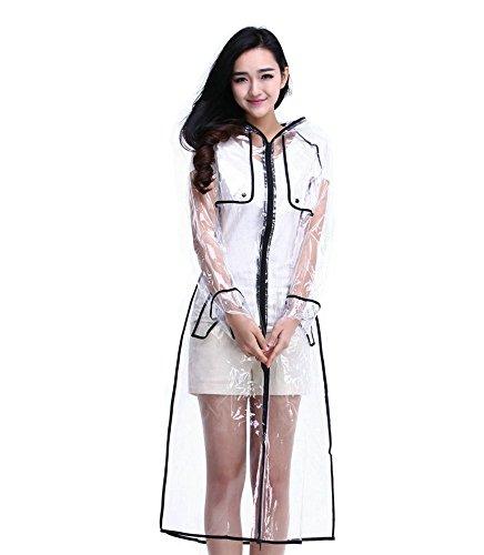 Mengshas Transparent Fashionable EVA Vinyl Womens Waterproof Raincoat Runway Style with Zipper, Black