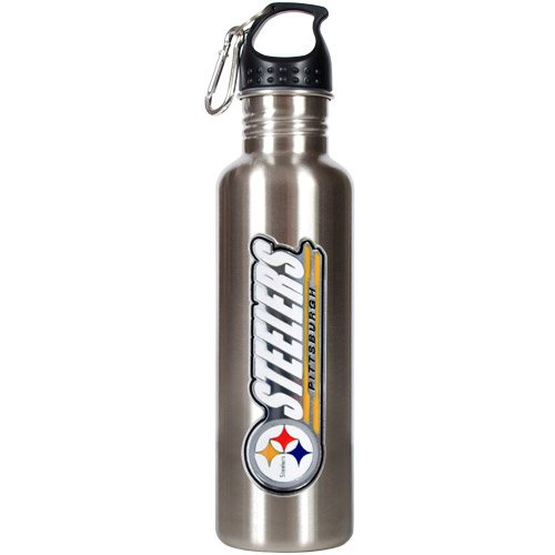 NFL Pittsburgh Steelers Stainless Steel Water Bottle with Pop-Up Spout, 26-Ounce, Silver