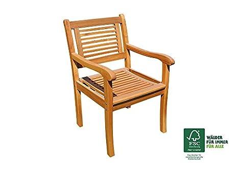 SAM Cordoba Fauteuil de Jardin avec accoudoirs fauteuils pour terrasse et Balcon en Bois dacacia Massif certifi/é FSC 100/%