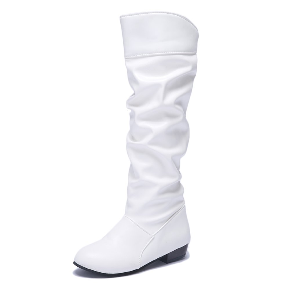 Blivener Women's Casual Knee High Riding Boots Pull on White US 9