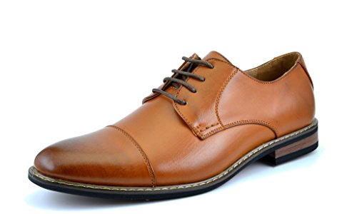 Bruno HOMME MODA ITALY PRINCE Men's Classic Modern Oxford Wingtip Lace Dress Shoes,PRINCE-6-BROWN,13 D(M) US