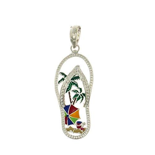 Enamel Charm Flop Flip (925 Sterling Silver Flip-Flop Charm Pendant, Beach Scene Palm Tree Cut-out, Enamel)