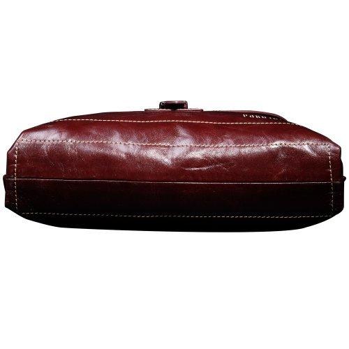 Oneworld Herren Rindleder Messenger Bag Aktentasche Schultertasche Notebooktasche Handtasche Umhängetasche Schultasche Mini Bag 26.5x32x6cm(BxHxT) Rot