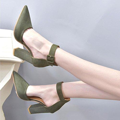 High Schuhe Schnalle Geschäftsarbeit Heels Damenschuhe Hochzeit Damenschuh C Sandalen Party Stiefel Spitz XUE Größe Kleid Farbe Formelle C Abend Große Schuhe 34 Sommer Größe Wildleder wnXxYYqzT