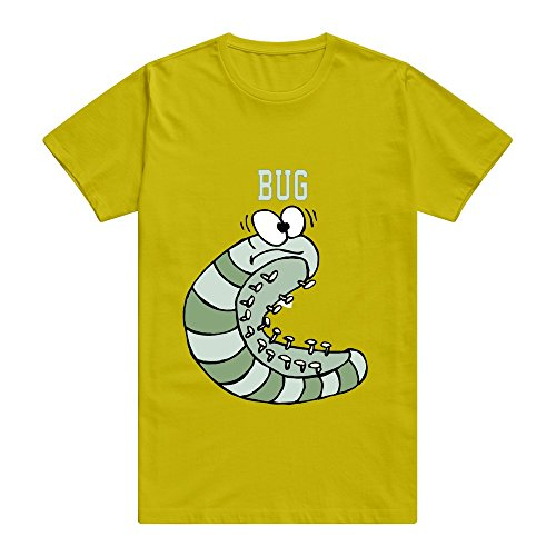 CUAUNED Bug T-shirt For Men - M Gold Nerd Short-Sleeve Gold T ()