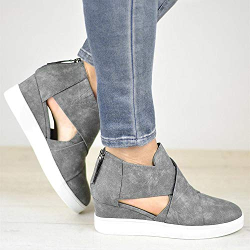 Zapatos Piso Zapatos Gris Cremallera Scrub El Mujer con ALIKEEY Terciopelo Aumento De Skechers Casual Matching xpTAwnFRq