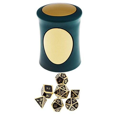 Homyl 7PCS Metal Polyhedral Dice D4-D20 for Dungeons and Dragons Board Game Accessories &Dice Cup #7 by Homyl