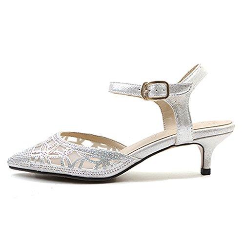 Silver à TAOFFEN Bout Femmes Sandales Talon Pointu Moyen TAqv6SP