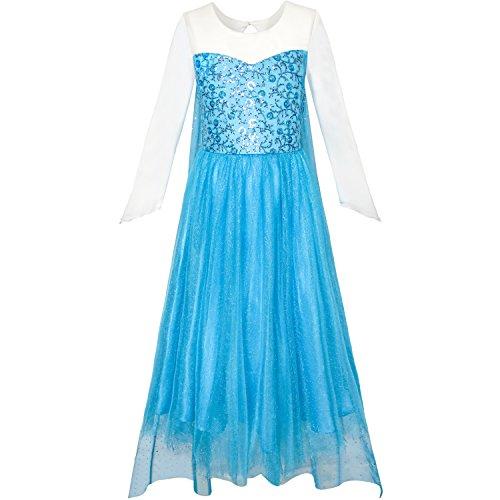 Girls Dress Cartoon Costume Princess Elsa Sparkling Party Size 12