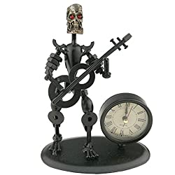 2 in 1 Black Iron Art Nut And Bolt Skull Music Man Figure Elegant Unique Western Style Clock Watch With Guitar Key Chain Home Office Desk Decor Decoration Gift A05611(Guitar)