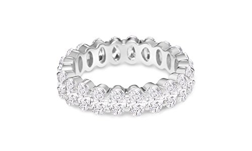 NYC Sterling Women's .925 Silver Cubic Zirconia 5x3mm Oval-Cut Eternity Band Ring (Sterling-Silver, 8)