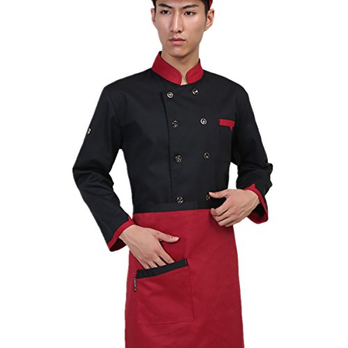 XINFU Unisex Chef Coat Apron Set Uniforms Long Sleeves Chef Jacket 10 Buttons Chef Coat-Easy-Care by XINFU