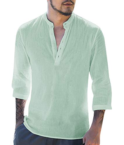 Beotyshow Stylish 3/4 Sleeve Tops for Men, Mens Shirts Round Neckline Six-Button Fly Henley Shirts Casual Cotton Menswear for Office Mint Green