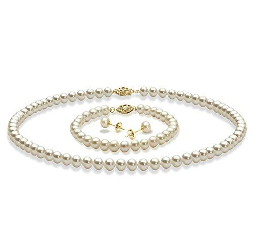 Blanc 5-6mm AAA-qualité perles d'eau douce 375/1000 Or Jaune-un set en perles