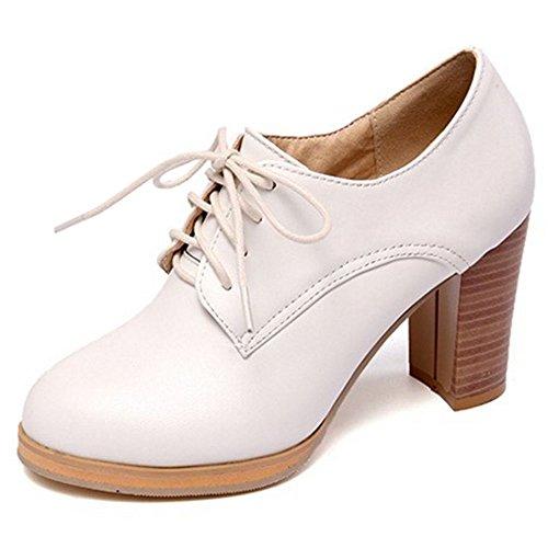 LongFengMa Women Casual Block High Heel Court Shoes Bootie Pumps White
