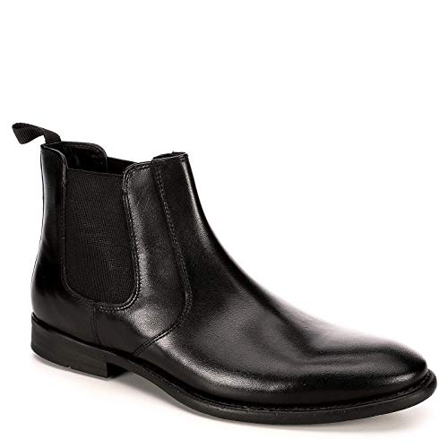 Boot Dress Leather Black (Franco Fortini Mens Trevor Chelsea Leather Ankle Boot Shoes, Black, US 8.5)