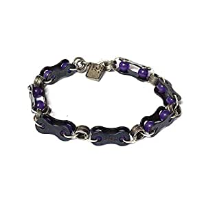 VO2 Unisex Glass Beads, Nickle Plated and Aluminum Chain Bracelet