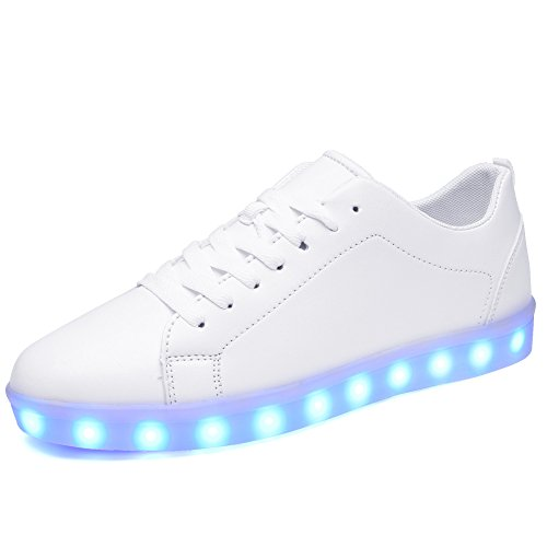 Ryanmay Shiny Night LED Light Up Shoes USB Charging Flashing Sneakers For Mens Womens Boys Girls,A1099,White,39