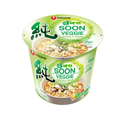 (NongShim Soon Cup Noodle Soup, Veggie, 2.6 Ounce (Pack of 6))