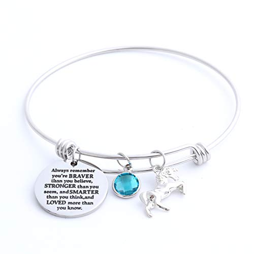 Inspirational Jewelry Birthstone Bracelet for Girls Women, Stainless Steel Expandable Wire Bangle, Engraved with Always Remember You are Braver (March)