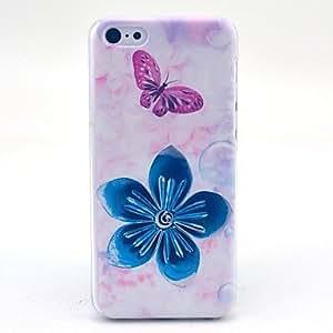 SHOUJIKE Beautiful Flower Butterfly Pattern Hard Cover Case for iPhone 5C
