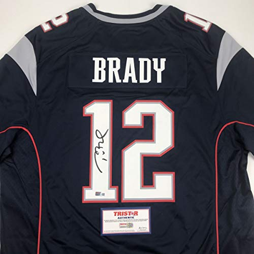 Autographed/Signed Tom Brady New England Patriots Blue Authentic Nike Game Football Jersey Tristar COA ()