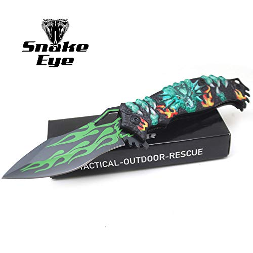 - Snake Eye Tactical Fantasy Flaming Dragon Design Folding Knife | Outdoor Survival Pocket Knife | Small one-Hand Knife Made of Stainless Steel Blade| Ideal for Recreational Work Hiking Camping (Green)