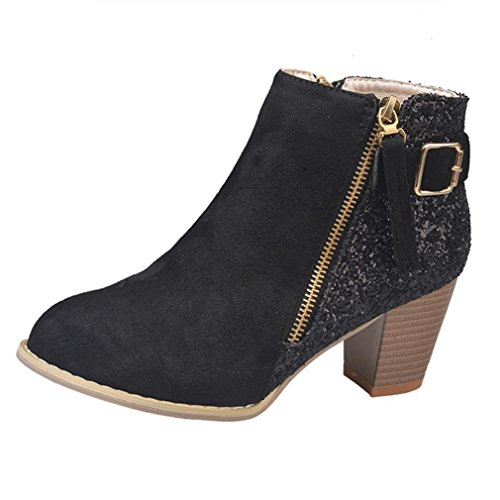 Longra Clearance Sale 2018 Ankle Boots,Women Sequin Zipper Ankle Boots High Heels Elegant Party Boots Boots Black