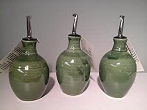 Hatfield Pottery Small Oil or Vinegar Bottle Spring Green