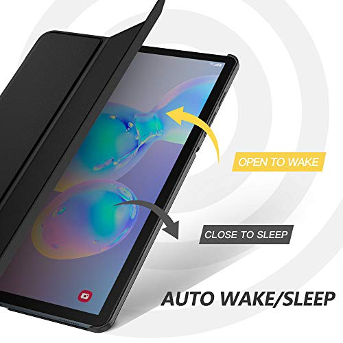 "MoKo Case Fit Samsung Galaxy Tab S6 10.5 2019, Ultra Thin Slim Shell Trifold Stand Cover with Frosted Back with Auto Wake & Sleep for Galaxy Tab S6 10.5"" SM-T860/T865 2019 Tablet - Black"