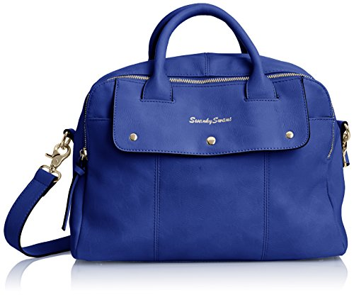 Swankyswans Carla Pu Leather Double Zip Smart - Bolso de mano Mujer Azul (Royal Blue)