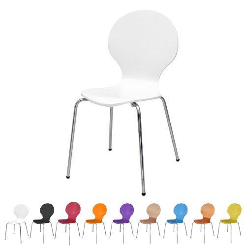 Stuhl stapelbar Design Klassiker Metall Holz - sehr belastbar - Weiss