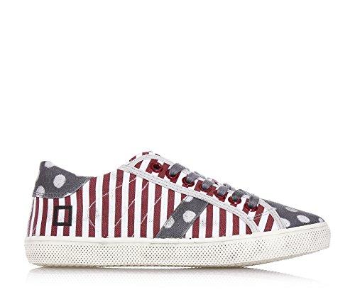 D.A.T.E. - Weiß-bordeaux gestreiftes niedrig Sneakers, aus Segeltuch, Jungen