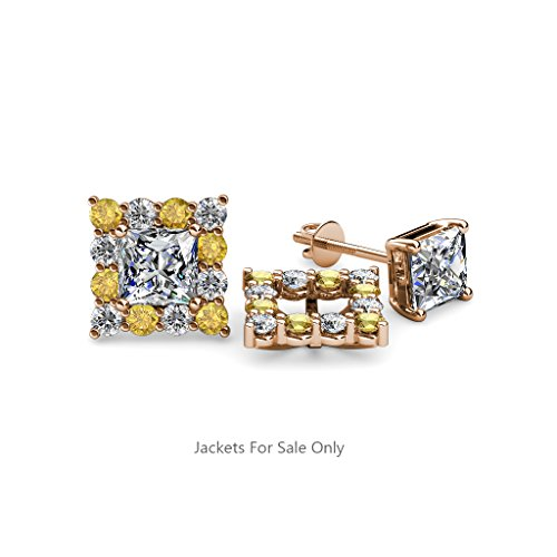 Citrine and Diamond (SI2-I1, G-H) Halo Jacket for Princess Cut Stud Earrings 0.72 ct tw 14K Rose Gold