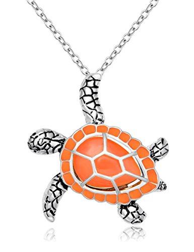 CHUANGYUN Health and Longevity Mutli-Colored Luminous Summer Sea Turtle Pendant Necklace 18'' (Orange)