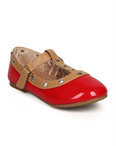 Girl Patent Round Toe Pyramid Studded T-Strap Ballet Flat  D
