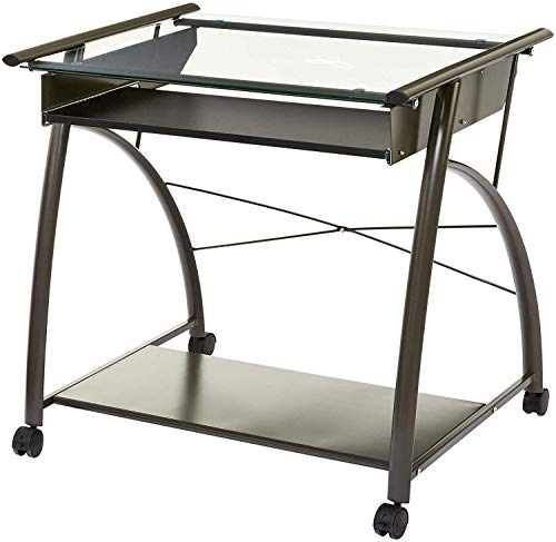 DK Furniture Arezzo Rolling Computer Table with Glass Top and Keyboard Tray, Graphite Grey