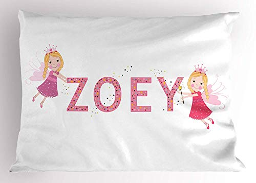 K0k2t0 Zoey Pillow Sham, Feminine Themed Baby Girl Name Magic Creatures Calligraphic Alphabet Letter Design, Decorative Standard Queen Size Printed Pillowcase, 30 X 20 inches, Multicolor -