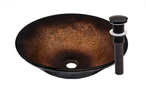 Novatto SANGUINELLO Glass Vessel Bathroom Sink Set, Oil Rubbed Bronze ()