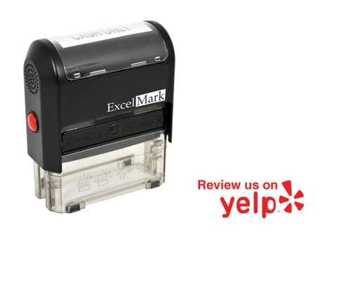 ExcelMark Self Inking Review Us On Yelp Stamp - RED ink