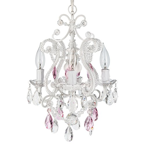 Josephine Pink Crystal Beaded White Chandelier, Mini Nursery Plug-In Glass Pendant 4 Light Wrought Iron Swag Ceiling Lighting Fixture Lamp