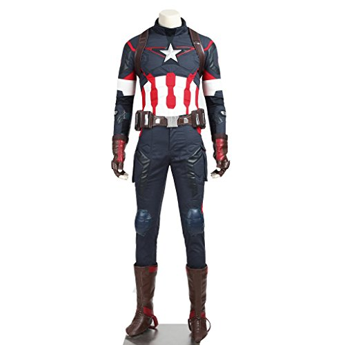 Captain America Ww2 Costumes (CosplayDiy Men's Costume for Avengers 2 Age of Ultron Captain America XXL)