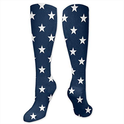Dark Blue Stars Socks Athletic Socks Knee High Socks For Men Women Sport Long Sock Stockings 50CM