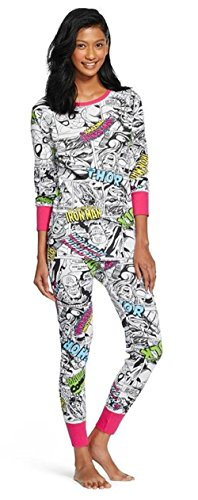 Marvel Comics The Avengers Women's Junior Waffle Weave Thermal Pajamas Set 2-Piece Set - Captain America, Hulk, Thor, Spiderman, Iron Man (X-Small)