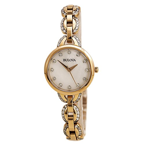 Bulova Women's 98L207 Crystal Analog Display Quartz Rose Gold Watch Bulova Ladies Crystal Bezel