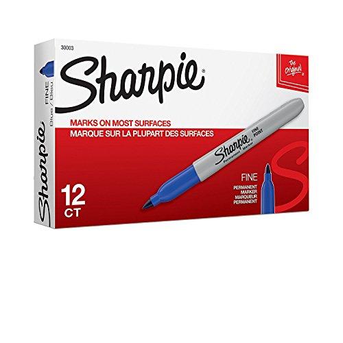 Sharpie Permanent Markers, Fine Point, 12 Count, Blue